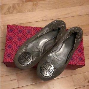 Tory Burch Silver Ballet Flats